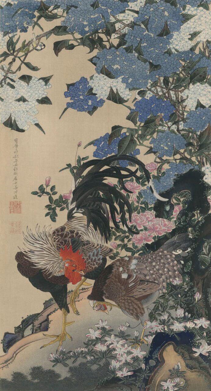 帝室御物 紫陽花雙鶏図 伊藤若冲(複製木版画)『真美大観第十三冊』