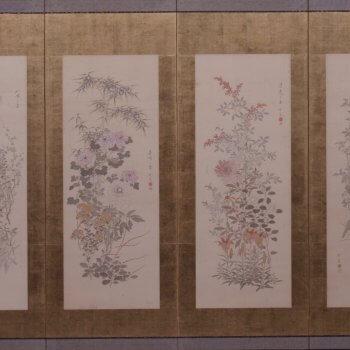 橋本雪蕉《名花十二客図屏風》(右隻)