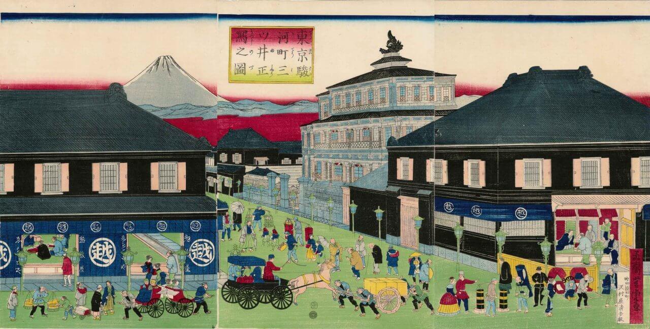東京駿河町三ツ井正写之図