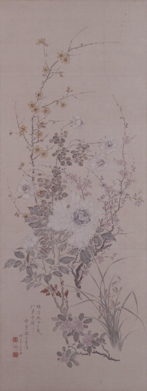 橋本雪蕉《名花十二客図屏風》(部分)