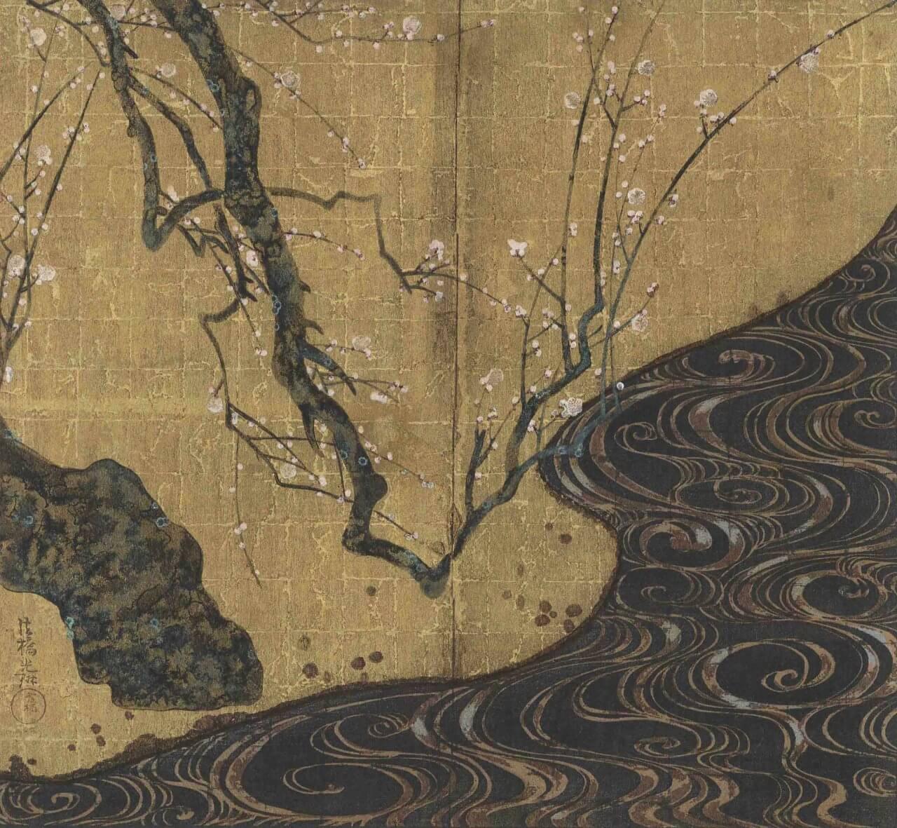 梅花図 尾形光琳(複製木版画)『和漢名画選 』