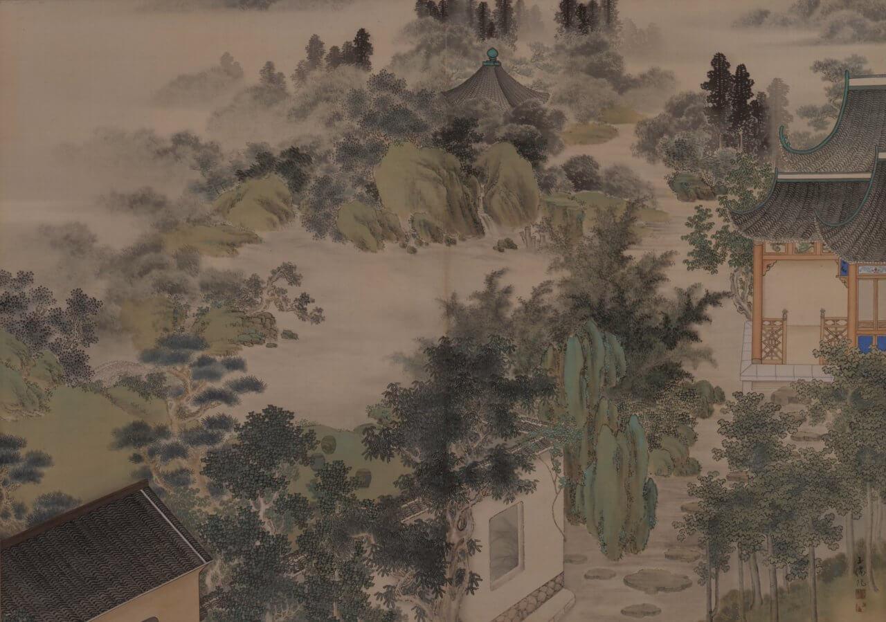 石橋玉僊《楼閣山水図》